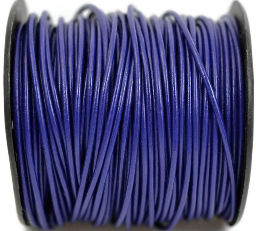 Кожаный шнур синий, круглый  3мм