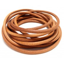 Шнур кожаный круглый светло-коричневый  4мм