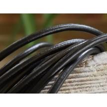 Кожаный шнур черный для кулонов и подвесов, круглый  4мм